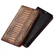 Genuine Leather Ostrich Flip Cover Kickstand Phone Cases For OnePlus Nord N10 5G/OnePlus Nord 5G/OnePlus Nord N100 Case Coque