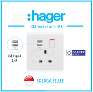 Hager 13A Socket with USB (Safety Mark)