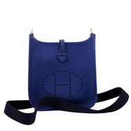 HERMES mini Evelyne 16 斜背包 (金釦 x 寶石藍 x 背帶深藍) Taurillon maurice Blue Saphir x Blue Indigo