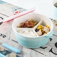 陶瓷飯盒帶蓋分隔保鮮密封日式便當盒微波爐加熱專用分格碗上班族