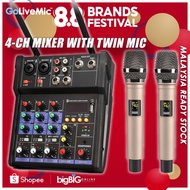 GoLiveMic K-1 Twin Kit Professional 4-Channel Bluetooth Audio Mixer with 2 Wireless Microphone for KTV/Concert/Broadcast