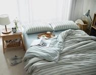 日式新疆天竺棉系列~MUJI無印良品風 純棉混水綠粗條紋雙人床包被套4件組- 吸汗/透氣/舒適~PicHome 挑 家居