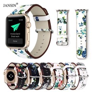 JANSIN Flower Pattern Style Genuine Leather Strap For Apple Watch 40mm Replacement Strap For Apple Watch Series 5 4 3 2 1 38mm 40mm