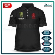 Dry Fit Yamaha Tech3 Monster Polo T Shirt Sulam MotoGP Motorcycle Motosikal Superbike Racing Team Y125Z RXZ TZM SRL Y15