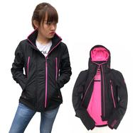 Superdry 極度乾燥 女款 新版 雙拉鍊 防風夾克連帽外套 黑配粉