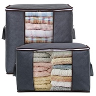 Storage Bag Organizer King Size with Reinforced Handle Firm Fabric Strong Zipper Space Saver for Clothes, Quilts, Blankets, Bedding Foldable Breathable, 2 Pack, Grey