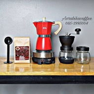 ของแท้ Moka pot 6cup+ที่บดแก้ว+ช้อน+กาแฟ 250กรัม+เตาไฟฟ้าHagan 24 Shop0126 เครื่องชงกาแฟ เครื่องชงกาแฟสด เครื่องชงชา เครื่องชงชากาแฟ เครื่องทำกาแฟ