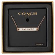 COACH 水鑽裝飾LOGO鐵牌項鍊(玫瑰金)