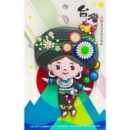 【橡膠冰箱貼 / 大型原住民族系列-排灣族少女(A05-L)】(紀念品 原住民)
