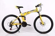 BeGasso 26 Inch Folding Bicycle Variable Speed Damping Oil Disc Brake Mountain Bike Aluminum Alloy Single Wheel Bicycle