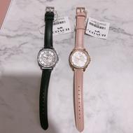 美國代購  台灣現貨 COACH 14503152 黑色真皮錶帶 女錶 手錶 晶鑽錶
