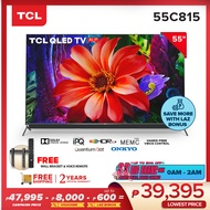 TCL (LED55C815) 55-inch Ulta-HD Slim QLED Smart Android TV - Netflix - Youtube - Hands Free Activation - Dolby Vision & Atmos