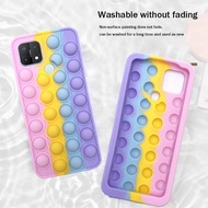 For Oppo A15 A15S Pop It Fidget Toy Push Bubble Shockproof Phone Soft new Case Sensory Stress Reliver Toy Cover Android Phone cover casing
