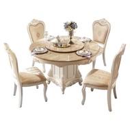 林氏木業歐式典雅石面圓餐桌KT620H+餐椅 (一桌四椅含轉盤)-仿古白描銀