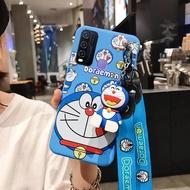 Sarung untuk VIVO Y50 Y30 Y20 Y20i, Pelindung Silikon Lunak Boneka 3D Happy Doraemon Modis