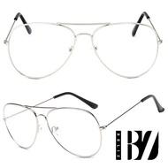 【BeLiz】炫彩糖果*透視雷朋細框平光眼鏡/銀框