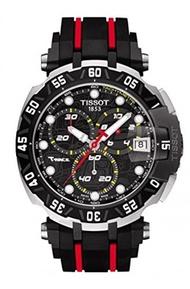 Tissot T0924172705100 T-Race Mens Watch - Black Dial, Rubber Strap