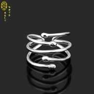 Simple Fashion Birthday Hipster Mix Line Thai Silver Open Index Ring