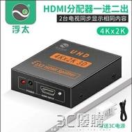 「樂天優選」hdmi分配器一分二1進2出4k分頻器音視頻同步電腦連接雙屏顯示
