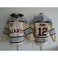 MLB棒球服GIANTS巨人隊12號PANIK米色帽衫刺繡球衣2016新款衛衣