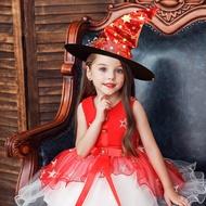 ชุดฮาโลวีนเด็กแบบใหม่,ชุดเจ้าหญิงในชุดเด็กโตชุดคอสเพลย์ชุดพร้อมหมวกแม่มด