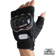 【Pro-biker】重機防滑防摔騎行半指手套(黑色)