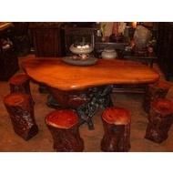 [台南寶麗古典傢俱藝品]~頂級紅花梨樹頭原木桌椅~樹頭藝術泡茶桌椅~長173寬84高66公分