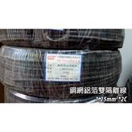 【土城瀚維】紀泰 1.25mm2 *2C 200M 銅網鋁箔雙隔離線 台灣製造 另售 網路線 電話線 平波線 大同 AMP