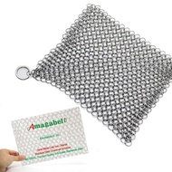 Amagabeli Stainless Steel Cast Iron Cleaner 8âx6â 316L Chainmail Scrubber Pan Scraper Cookware Accessories Pan Dutch Ovens Polycarbonate Skillet Scraper Pot Grill Brush Seasoning Cleaning Tools Set