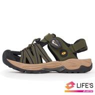 LOTTO 義大利 男 護趾排水運動涼鞋(軍綠/黑)