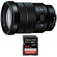 Sony Sony E PZ 18-105mm f/4 G OSS Power Zoom Lens (SELP18105G) with Sandisk Extreme PRO SDXC 64GB UH