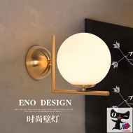 現代簡約led壁燈北歐臥室床頭墻燈玻璃燈罩不銹鋼電鍍圓形壁燈