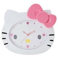 【真愛日本】14022500023 造型壁掛鐘-KT大臉粉結 三麗鷗 Hello Kitty 凱蒂貓 時鐘 掛鐘