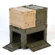 出口日本戶外野炊露營野餐收納折疊箱多功能車載塑料可側開儲物箱(2754)