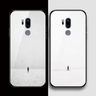現貨 印象小鋪LGG7手機殼玻璃硅膠lg g7保護套全包邊軟鏡面防摔創意簡單孤獨一個人物日韓