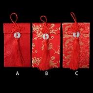 新年開運中國結布紅包袋 絲綢單玉紅布袋(直式)3款