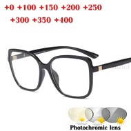 Design Photochromic Reading Glasses Men Chameleon Eyeglasses Sunglasses Discoloration with Diopters Square Reading Glasses NX