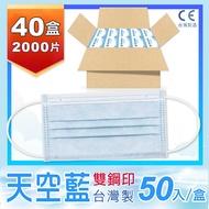 【普惠醫工】成人防疫醫用口罩--天空藍 (50片1盒)共1箱40盒