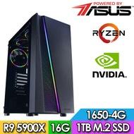華碩X570平台【天河獵人】R9十二核獨顯電玩機(R9-5900X/16G/1TB_SSD/GTX1650-4G)