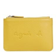 【agnes b.】壓印LOGO牛皮鑰匙零錢包(黃)