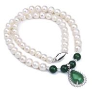 【RJ New York】925銀綠玉髓天然珍珠項鍊耳環手環收藏3件套組(白綠色)
