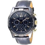 GUESS手錶 GWW0176G1 夜幕騎士三眼碼錶計時男錶-黑