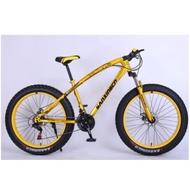 山地車雪地車減震山地自行車(黃色,26英寸x17英寸)