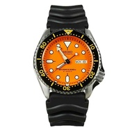 Seiko Mens Automatic Diver's Sport Analog Orange Dial Black Band Rubber Strap Stainless-Steel Case Automatic 200 Meter 20 Bar Water Resistance SKX011J1
