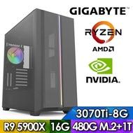 技嘉X570平台【殺戮夢饜】R9十二核獨顯電玩機(R9-5900X/16G/1TB/480G_SSD/RTX3070TI-8G)