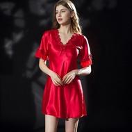 Wanita Pakaian Tidur Sutera Besar Saiz Renda Seksi Nipis Satin Sutera Nightgown Musim Panas Pakaian Dalam Wanita Plus Saiz Baju Tidur untuk Tidur gaun Malam untuk Wanita Bra Seksi