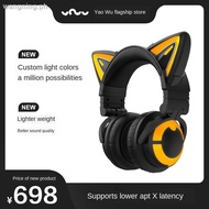 ✾✼✷Demon Dance Cat Ear Headset 3G yowu wireless bluetooth computer gaming game Eating Chicken FireWire Girl with cute headset