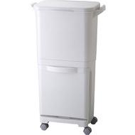 RISU|H&H直立雙層分類附輪(單蓋)式垃圾桶 45L- 灰白色