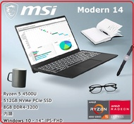 MSI微星 Modern 14 B4MW-039TW 六核心創作者筆電 R5 4500U / 8G / 512G / Win10   B4MW-BBAR545U8GXXDX10MH
