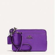 ◎Lucy◎COACH 51928紫色黑馬車雙層手拿包